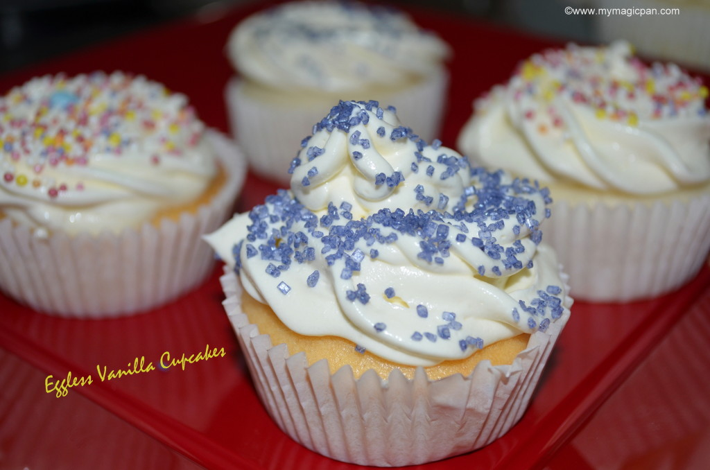 Eggless Vanilla Cupcake My Magic Pan